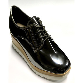 Sapato Tênis Feminino Moleca Plataforma Oxford 5634 Verniz