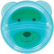 Prato Ursinho Com Divisória Azul Para Bebê Buba