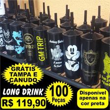 100 Copos Acrílicos Long Drink  Personalizado C/ Seu Tema