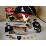 Chapeu Espada Moedas Mapa Pirata Jack Sparrow Pistola Fantas