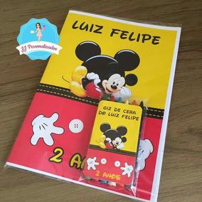 Livro De Colorir Personalizado Mickey 50 Unidades + Giz
