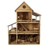 Casa Para Boneca Mobiliada Com 32 Móveis Mdf Madeira