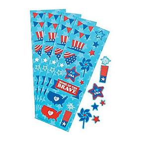 24 Tiras De Sticker ~ ~ 16 Patrióticos De Papel 1/4 - 1 1/4