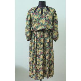 Vestido Largo Importado De Colección Floreado Diane Freis