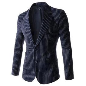Veston Blazer Azul A Rayas Coderas Lana Nuevo ( Zara H & M