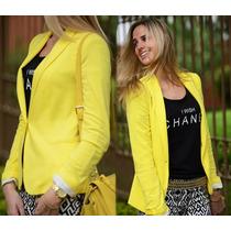 Blazer Feminino Amarelo Zara - Casaquinho Feminino Barato