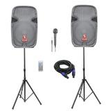 Bocinas Bluetooth Par De Bafles De 15 Amplificado Mp3 Fm