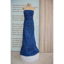 Vestido De Festa - Longo Azul De Tafetá
