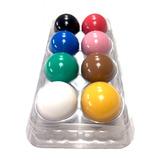 Lindo Jogo Bolas Sinuca Coloridas 54mm C/case Plástico