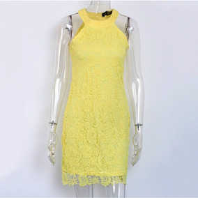 Vestido Renda Gripir Amarelo Ou Branco Queima De Estoque
