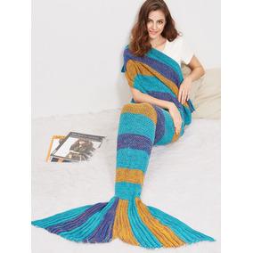 Manta Cauda De Sereia Crochê Color Cobertor Solteiro - Nalla