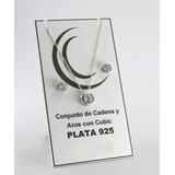 Hermoso Conjunto Cadena, Dije Y Aros En Plata 925