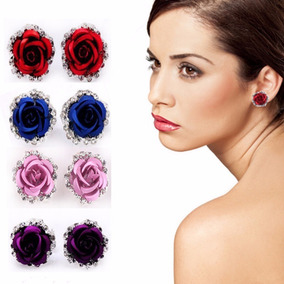 Brincos Feminino Strass Design Flor Clipe Cuff Elegante Luxo