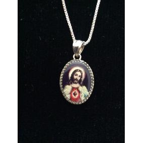 Cadena De Plata Con La Imagen Del Sagrado Corazón De Jesus