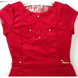 Vestido Infantil Vermelho Com Pedras - Miss Sweet