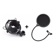 Combo Microfone Aranha Shock Mount + Tela Pop Filter