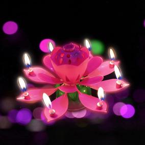 Vela Pastel De Cumpleaños Giratoria Musical Forma De Flor