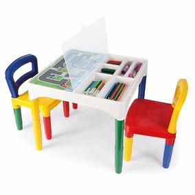 Mesa Didática Mesinha Infantil +2 Cadeiras Adesivos Poliplac