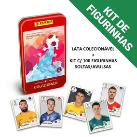 Kit 100 Figurinhas + Lata Colecionável Copa Do Mundo 2018