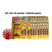 Kit Gatinho Feliz 10 Sachês Friskies Carne E Bolinha Guizo