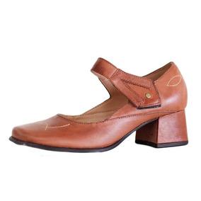 Sapato Boneca Confortável Marrom Salto Quadrado 616