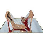 Scarpin Sapato Nude Transparente Salto Alto