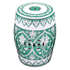 Puff De Cerâmica Oriental Kira Byhaus Verde/branco Ic