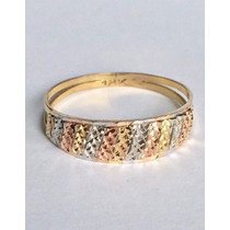 Anel Tricolar 3 Cores 13 Tiras Diamantado 18k 750