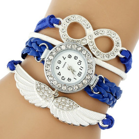 Reloj Brazalete Piel Cristal Vintage Geneva Ala Angel