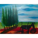 Pintura Al Óleo - Cuadro Caballo Campestre - Pintado A Mano