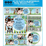 Kit Imprimible Baby Shower Monito Varon Invitacion Babyshowe