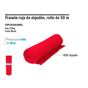 Franela Roja Rollo De 50 Mts