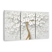 Quadro Decorativo Para Sala Quarto Flores Cerejeiras 3 Telas