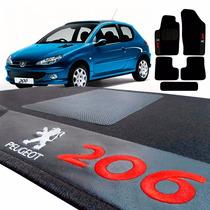 Jogo De Tapete Carpete Automotivo Bordado Peugeot 206