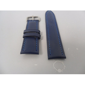 Pulseira De Couro Legítimo Azul 20mm. 22mm E 24mm