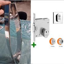Kit Porta Pivotante Comum, Puxadores Curvo 40 Cm + Fechadura