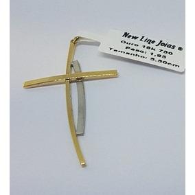 9cdacf9d07cea Pingente Cruz Palito Curve 2 Cores De Ouro 18k 750 Com 1