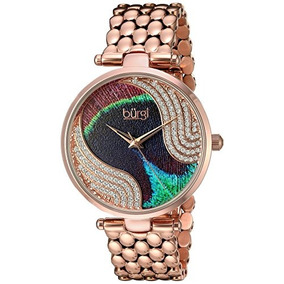 Burgi Womens Genuine Swarovski Crystal Peacock Feather Patte