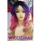 Peruca Colorida, Arco Iris, Ondulada, Wig, Fibra Futura