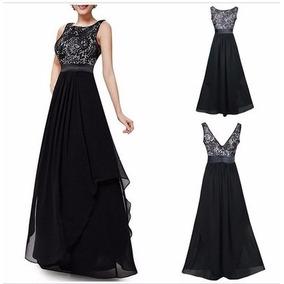 Vestido Largo De Fiesta Chifon En Negro Y Azul