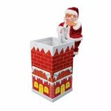 Enfeite Papai Noel Musical Na Casinha Chaminé 21cm - Natal