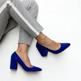 Stilettos Zapatos De Cuero Vacuno Gamuzado Con Taco Cuadrado