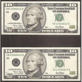 Estados Unidos Billete 10 Dólares (52) Correlativos 2 Nuevos