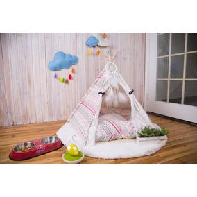 Teepee Casa Tela Tienda Campaña Perro Gato Cama Pink