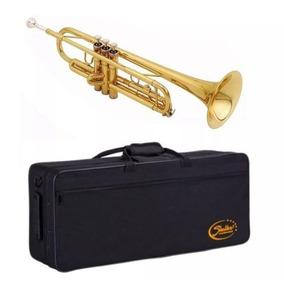 Trompete Shelter Sft6418l Si Bemol Laqueado Dourado Estojo N