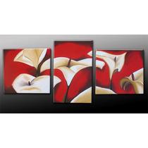 Cuadros Modernos Flores Bastidor Tripticos Diptico Secuencia