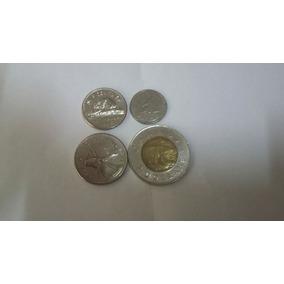 Quatro Moedas Canadenses De 5, 10, 25 Cents E 2 Dolares