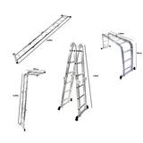 Escada Multifuncional 4x3 Em Alumínio Com 12 Degraus Bel Fix