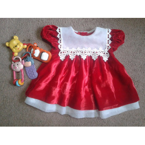 Vestido De Terciopelo Rojo Bebe Niña