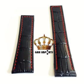 Pulseira Para Tag Couro Costura Vermelha - 22/18mm Ou 24/20